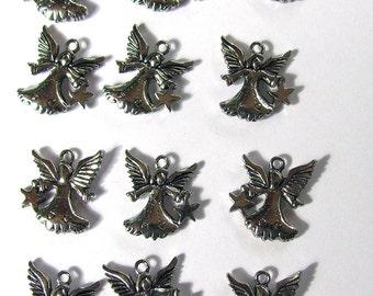 12 Silver Star Angel Charms 15X16mm