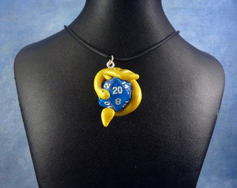 Yellow and Blue Dicekeeper Dragon Necklace - D20 Pendant