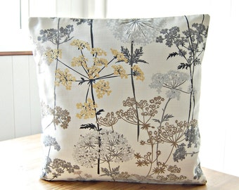 16 inch dandelion meadow decorative pillow cover, grey, pale gold, light brown leaves, cushion cover