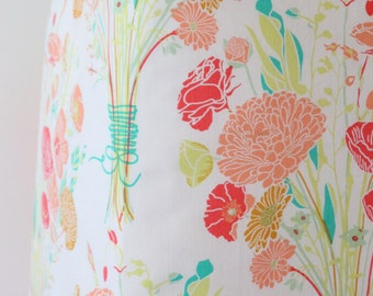 Coral, Peach and Mint Floral Fitted Crib Sheet - Sweet Nostalgia Ready to Ship