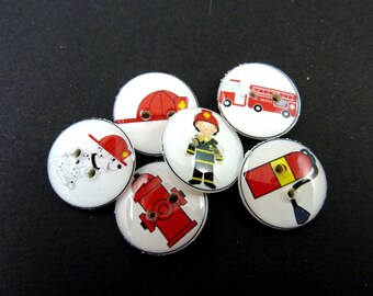 "6 SMALL Fireman Buttons.  5/8"" or 15 mm round fire fighter sewing buttons. Handmade By Me.  Washer and Dryer Safe."