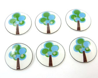 "6 Tree Buttons. Handmade buttons. Bluelue and Green Tree Buttons for Sewing. 3/4"" or 20 mm."