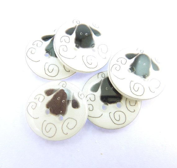 5 sheep buttons sheep novelty buttons craft buttons for Decorative buttons for crafts