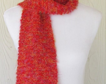 Red Fluffy Scarf, Hand Knit Scarf, Womens Scarf, Winter Fashion, Winter Accessories, Eclectasie