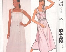 McCalls 9442 Misses Nursing Gown Pattern High Waist Nightgown Tied Shoulder Straps Womens Vintage Sewing Pattern Size Small Bust 32 34 UNCUT