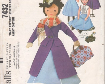 McCalls 7432  MARY POPPINS  17 inch Doll with Nanny Costume Pattern Walt Disney Character Vintage Soft Toy ORIGINAL Sewing Pattern