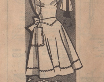 Mail Order 9379 1950s Misses Full and Half APRON Pattern Square Neck Heart Pocket  Womens Vintage Sewing Pattern Size Small