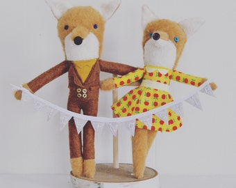 Mr and Mrs Fox Wedding Cake Topper