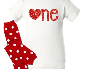 """First birthday Valentine's Day no mess glitter red """"one"""" with red / white polkadots leg warmers VFBGS"""