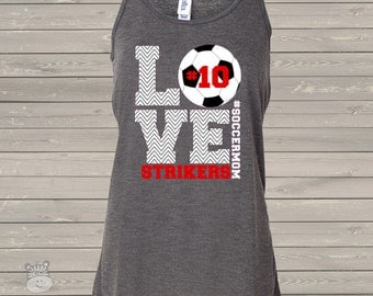 Soccer mom love DARK flowy tank top - great gift for birthday or Mother's Day