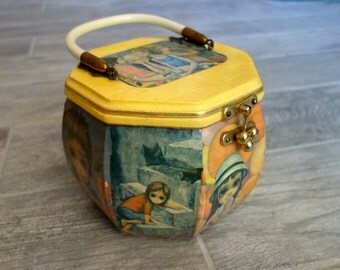 Vintage Decoupage Purse with 1960s Keane Postcards and Art,Big Eyed Collectible Octagonal Wooden Box Purse with Velvet Lining and Metal Feet