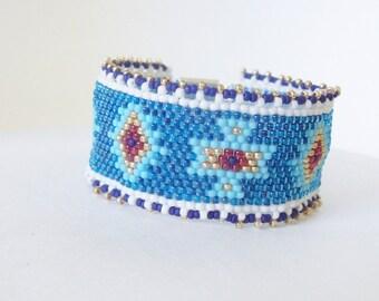 Blue beaded bracelet , Cuff bracelet , Beadwork bracelet ,  Peyote bracelet , Beaded cuff bracelet , Beadwoven bracelet , Seed bead bracelet