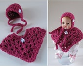 Huggums Poncho Set, Baby Doll Clothes, Doll Poncho, Bonnet, Crochet Doll Clothes, Color is Raspberry, Fits Huggums Dolls