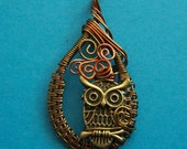 Owl Necklace gift for best friend, Owl Jewelry gift for wife, Unique Bird Necklace Gift, Woven Copper Wire Owl Necklace