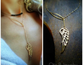 Angel wing Y necklace, lariat necklace, feather, plunging, layering, layered, otis b, briguysgirls, gifts for her