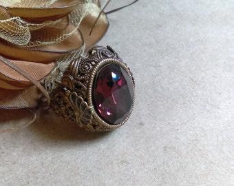 Victorian Swarovski crystal large brass ring
