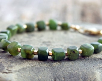 nephrite jade bracelet, Canadian nephrite jade & gold-filled nugget bracelet, 35th anniversary, made to order, bespoke custom size