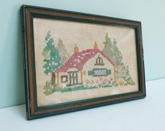Vintage Cottage Cross-Stitch Picture with Garden, Trees and Flowers