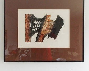 Signed limited edition Abstract print on paper/ orginal 1980s Collagraph print / 80s framed wall art