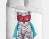 Super Cat Duvet Cover, Kitty Cat Bedding, Cute White Duvet - Made in USA - Great Bedroom Artwork