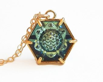 Hexagon necklace made with Swarovski® crystal in erinite green
