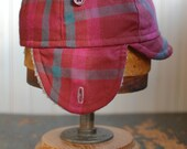 Flapjack S: warm hat with furry earflaps in maroon plaid, wool hat perfect for winter cycling, earflap hat made with repurposed fabric