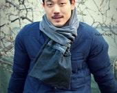 Unisex convertible denim scarf /long scarf / tattered scarf / mens scarf / neck warmer  - KA195