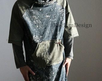 Men's Hoodie / long hoodie / mens long tunic / hooded tunic / oversized hooded tshirt- KMT 086