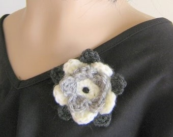 Fabric pin hand crochet flower brooch with bead in shades of grey and white textile jewelry