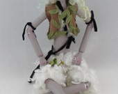 DASNEE, paper clay ball jointed puppet, little faun, handmade in the USA