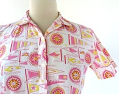 Vintage 60s Blouse / Yacht Race / Nautical Shirt / 1960s Blouse / Small S