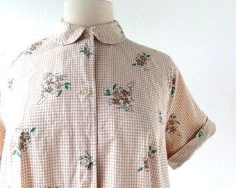 Vintage Maternity Blouse / 1960s Blouse / Floral Top / L XL