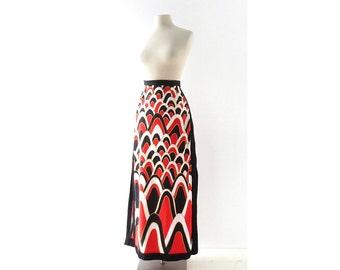 Vintage Maxi Skirt / Plate Tectonics / 1960s Skirt / 31W M L