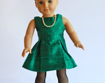 """American Girl Doll Clothing: Party Dress with accessories, American Girl Doll dress, Fancy Dress for 18"""" dolls, ag doll dress, green silk"""