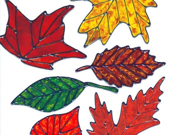 Autumn Leaves Window Cling Set (C)