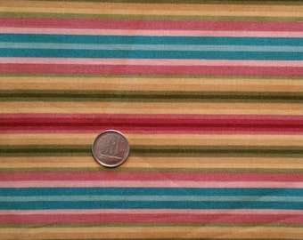 PT010 ~ Colorful stripes Golds Pinks Greens Blues Cotton fabric Quilting