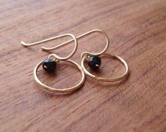 Gemstone Accent Earrings, Small Round Hoop with Semi Precious Stone or Pearl Dangle, Options Available
