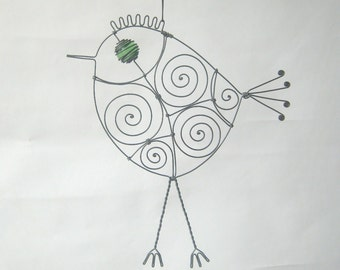 Wire Bird Sculpture In Green