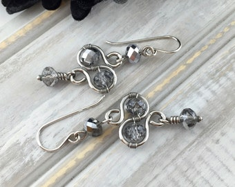 Wire Wrap Jewelry Handmade Earrings Sterling Silver Jewelry Dangle Handmade Boho Earrings Sterling Silver Jewelry Metal Jewelry Swarovski