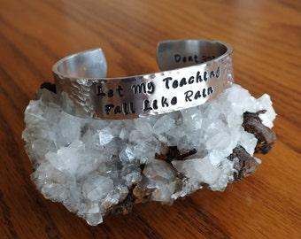 """Let My Teaching Fall Like Rain - 1/2"""" Aluminum Prayer Cuff"""