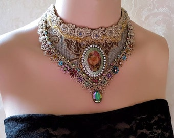 Renaissance Blooms choker necklace, romantic floral necklace, cameo statement necklace, beaded fiber art jewelry, antique silver lace choker