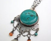 Large Blue Turquoise OM Lotus Sterling Silver and Chalcedony Necklace - Large Boho Chic Necklace -Large Sterling Tribal Necklace - N-005