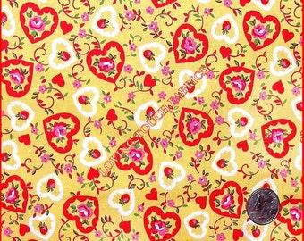 "Windham Hearts Strawberries Roses Valentine Cotton Fabric 1/2 Yard 18"" x 44"""