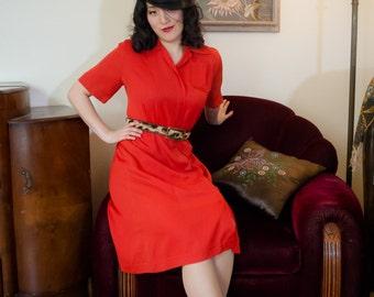 Vintage 1940s Dress - Vivid Cherry Red Rayon Gabardine 40s Day Dress with Hidden Zipper Front