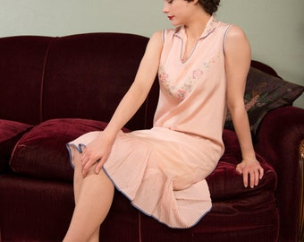 Vintage 1920s Dress - Powder Pink Silk 20s Day Dress with Embroidered Bodice and Crystal Pleated Hem