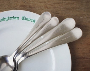 First Church Vintage Silver Spoons, Sunday School Silverware, Brunch Tableware