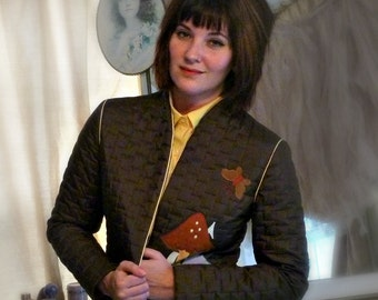 Vintage Kitschy Brown Jacket with Mushrooms and Butterfly - Size S