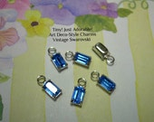 6 Tiny Art Deco Charms Vintage Swarovski Sapphire Blue Silver Plated Prong-Set 1 Loop