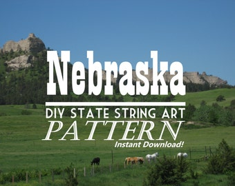 "Nebraska - DIY State String Art Pattern - 11.5"" x 5"" - Hearts & Stars included"