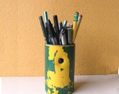 Upcycled Pencil Cup, Salvaged Street Sign Post, Industrial Salvage Decor, Green Yellow, Utensil Holder, Desk Accessory, Co-worker gift idea